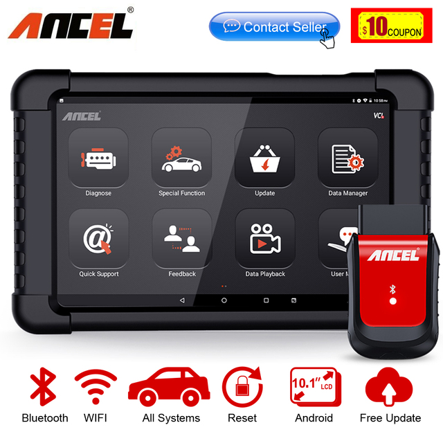 Ancel – Outil de diagnostic des fonctions dune voiture, scanner Bluetooth X6 OBD2, balayage ABS, airbag, huile EPB DPF, réinitialisation OBD 2, lecteur de code