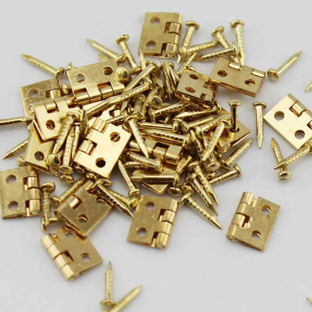 Hot Sale 20Pcs Mini Metal Hinges with Nails DIY Miniature Furniture Dollhouse Accessory DIY Craft Accessories Easy to Use