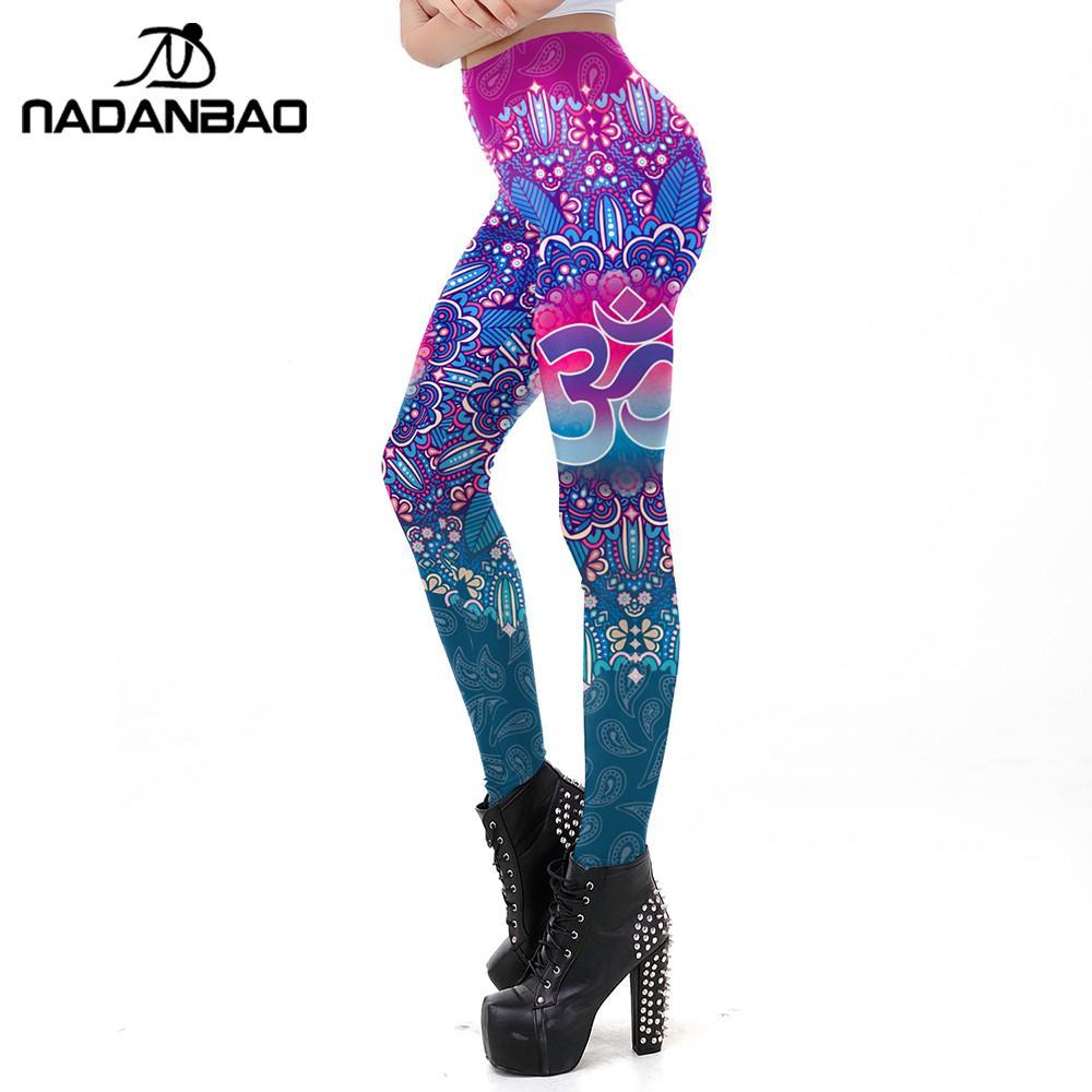 NADANBAO The OM Symbol Mandala Leggings Print Womens Workout Fitness Leggin Plus Size Ankle Pant Slim Elastic Legins