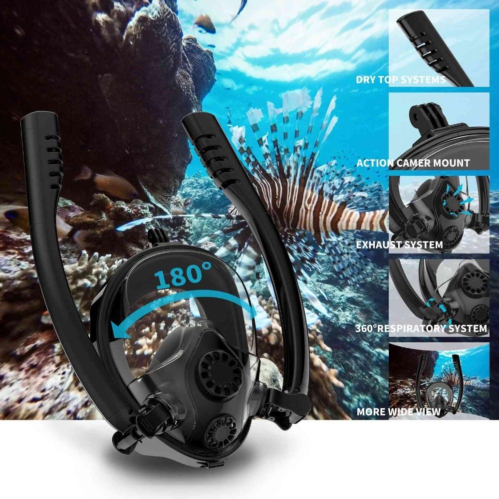 NEW Double Tube Diving Mask Scuba Mask Underwater Anti Fog Full Face Snorkeling Mask Women Men Kids Swimming Snorkel Equipment