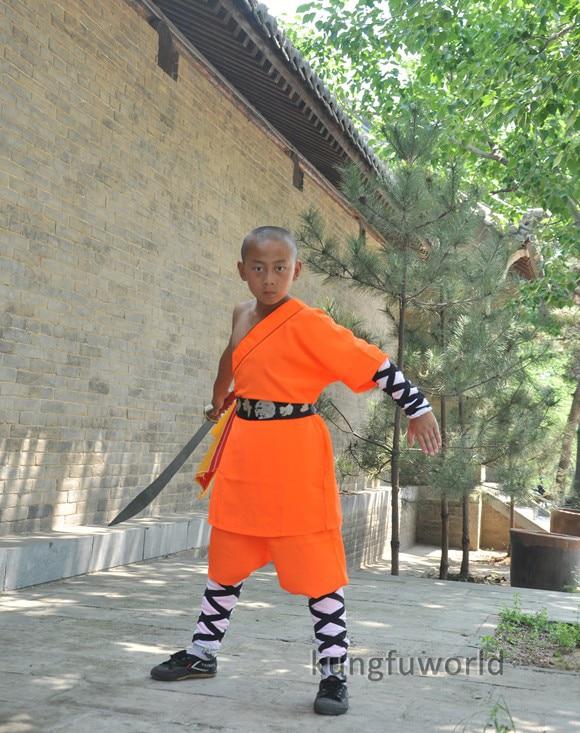 Оранжевая Униформа шаолин кунг-фу для соревнований, боевые искусства, костюм для ушу, полный размер для детей и взрослых