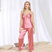Женская пижама летние шелковые свободные дамские домашние пикантные