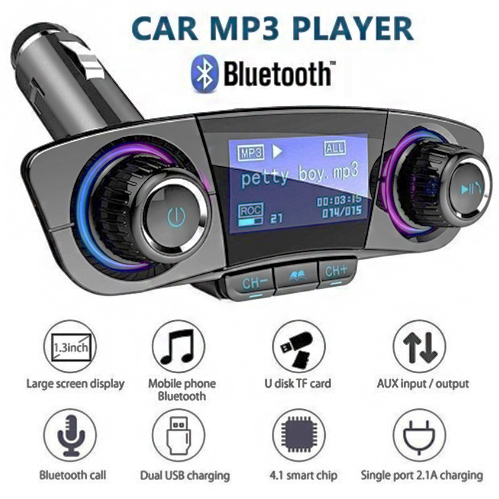 Auto FM Transmitter Wireless Modulator Dual USB Handsfree Car Bluetooth Radio Audio Adapter Mobile Phone Charger Car MP3 Player image