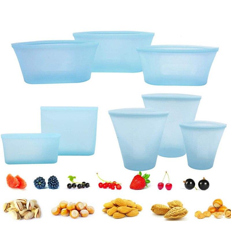 8Pcs Silicone Food Storage Bag Fresh Bowl Fridge Organizer Reusable Stand Up Organizer Bag Fruit Vegetable Cup Bag With Seal