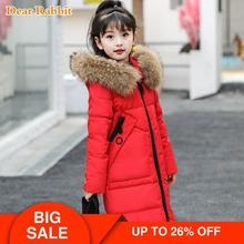 30 degrees Girls clothing warm Down jacket for girl clothes 2020 Winter Thicken Parka real Fur Hooded Children Outerwear Coats