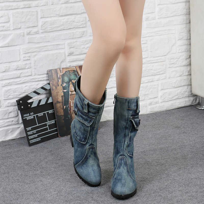 Seksi Jean çizmeler kadın AnkleTube kısa çizme kış orta topuk kot çizme 2019 bayan şık kot çizmeler fermuar ayakkabı kovboy ayakkabı