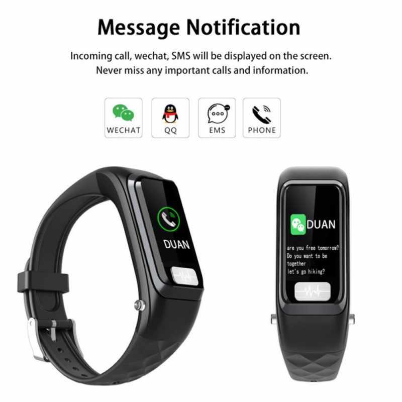 2019 2 ใน 1 สร้อยข้อมือกีฬาหูฟังบลูทูธฟิตเนส Tracker Heart Rate Monitor แฟชั่นสมาร์ทนาฬิกาสายรัดข้อมือ