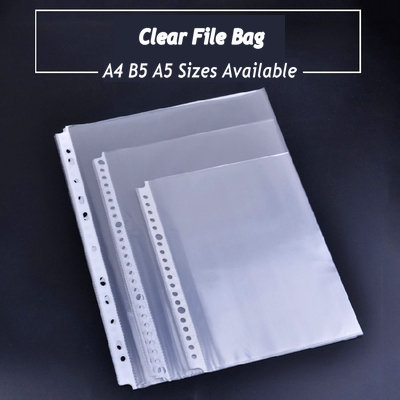 50 Sheets Clear File Paper Organizer PVC Bag 2,3 Ring Binder Folder Bag A3 Bag A5 B5 A4 Document Bag