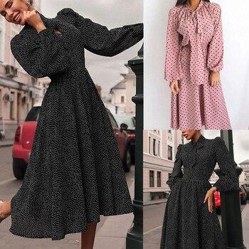 Neue Herbst Winter Frauen Schal Neck Langarm Polka Dot Chiffon-Kleid Bowknot krawatte Französisch Elegante und niedliche robe noel mode F4