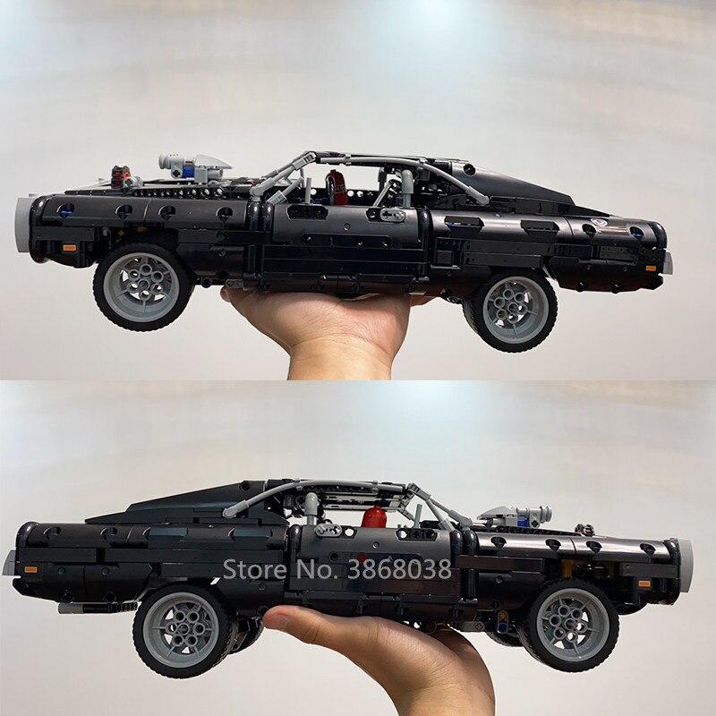 En stock 2020 lepining serie de coches técnica Supercar Dom's Dodged Charger 42111 modelo Lepinblocks bloques de construcción ladrillos de juguete - 3