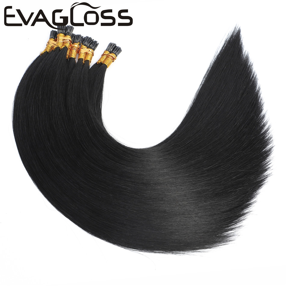 EVAGLOSS Italian Keratin Fusion Pre Bonded Microlink StickI Tip Cuticles Aligned Natural Real Russian Remy Human Hair Extensions