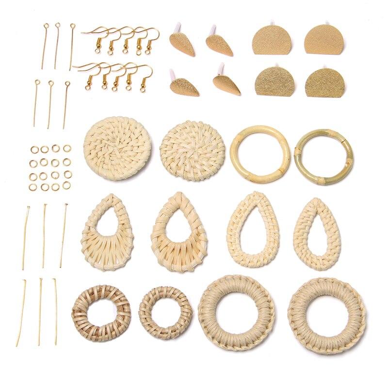 Rattan Earring Charm DIY KIT CRAFT For Women DIY Braid Pendant Earrings Findings Natural Mori Style Drop Earrings For DIY Making