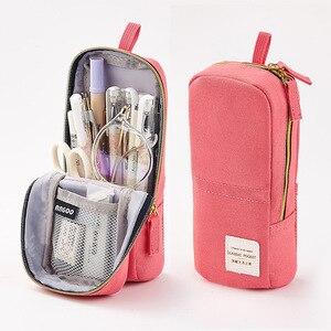 Large Capacity Multifunction Pencil Case Retro Style Mobile Phone Holder Korean Canvas Pen Storage Bag High Quaility Stationery