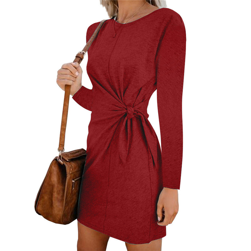 Fashion Women Mini Dress Casual Round Neck Waist Tie Short Sleeve Summer Women Dress 2020 Loose Elegant Women Short Dress (4)