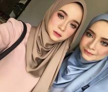 Wholesale price muslim women hijab scarf woman soft silk shawls islamic secret Muslim Headband Solid Ladys Shaw