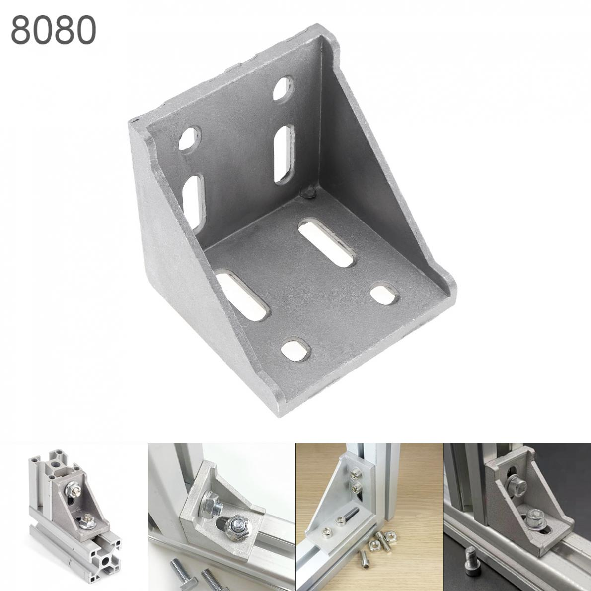 Gray <font><b>8080</b></font> Aluminum Corner L Shape Right Angle Support Connector <font><b>Extrusion</b></font> Industrial Aluminum Profile image
