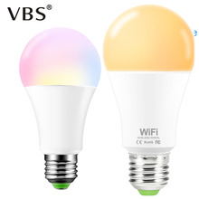 Two types of E27 B22 smart light bulb 85-265V AC 15W LED Bulb Controlled By Android /IOS mobile Dimming Warm /White /RGB lamp