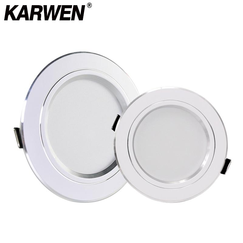 KARWEN LED Downlight AC 220V 230V 240V 5W 9W 12W 15W 18W Ceiling Light White Body Led Spotlight For Living Room Kitchen