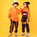 Street Dance Boys Girls Sweatshirts Hip Hop 3 Pcs Sets Kids Cargo Jogger Pants Outfit Teen Crop Top Child Sport Costume Clothes
