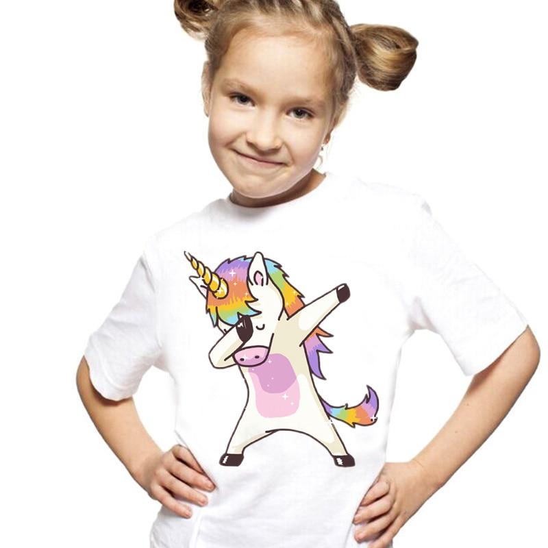 New Arrival T Shirt Girl Summer Vintage Aesthetics Unicorn Girls T Shirt O-Neck Short Sleeve Toddler Girls Tops Tee Clothes Teen