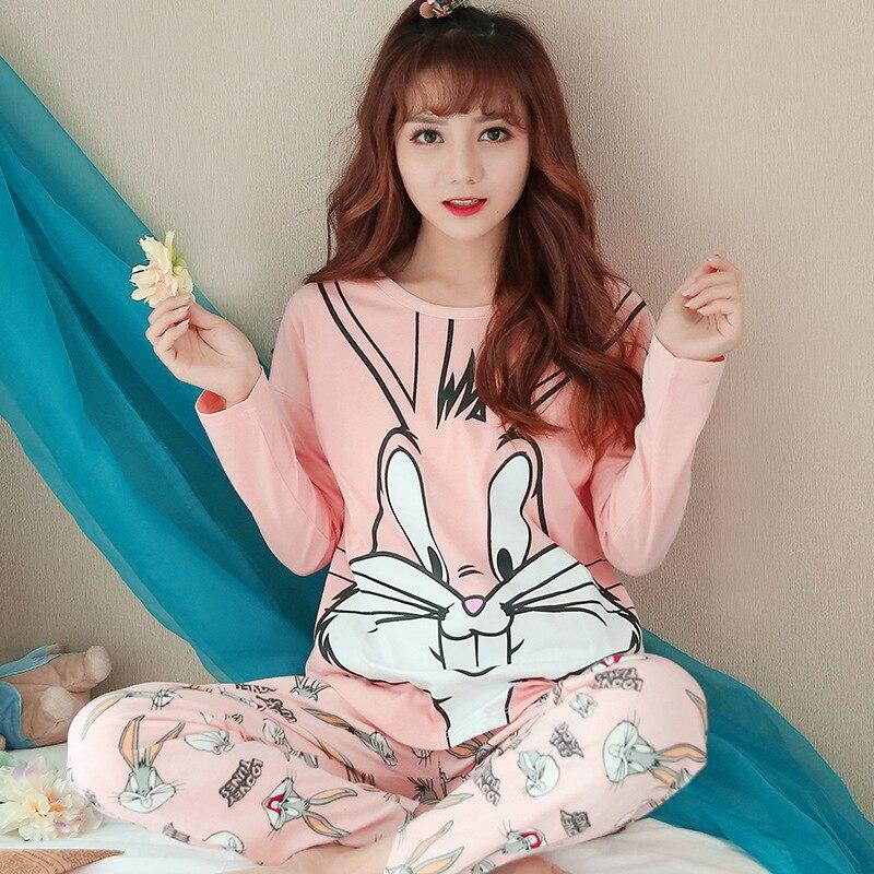 Women   Pajamas     Sets   Casual Housewear T Shirt with Long Trousers Cotton Sleepwear Pijama Feminino Thick Pijama Women Nightwear Pjs