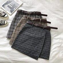 Корейская Асимметричная Женская юбка, Женская Осенняя Милая Мини-юбка трапециевидной формы с высокой талией, винтажная Повседневная Женская клетчатая юбка, шикарный пояс