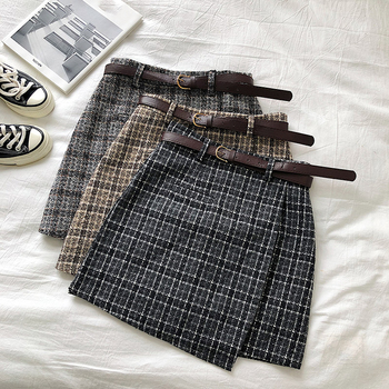 Korean Irregular Lady Skirt Female Autumn Sweet High Waist A-line Mini Skirt Vintage Casual Women Plaid Skirt Chic Sashes 1