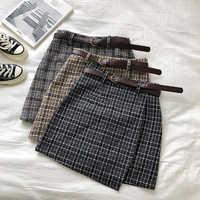 Coreano irregular senhora saia feminina outono doce cintura alta a-line mini saia vintage casual feminino xadrez saia chique faixas