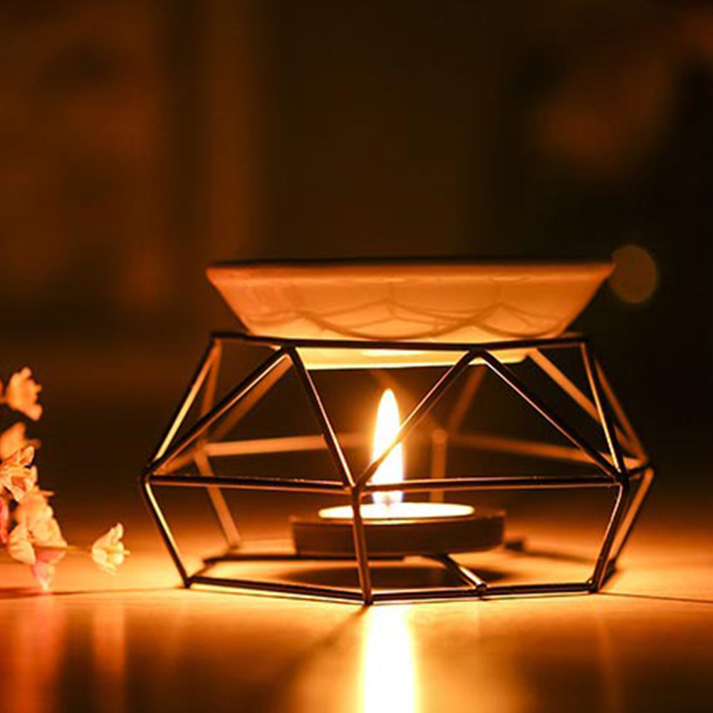 Crafts Indoor Aromatherapy Yoga Spa Candle Black Home Decor Gifts Iron Aroma Diffuser Oil Burner