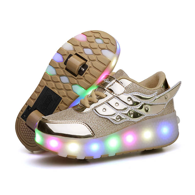 เด็กสองล้อรองเท้าผ้าใบเรืองแสงสีชมพู Led Light Roller รองเท้าสเก็ตเด็ก Led รองเท้าเด็กชายหญิง USB ชาร์จ