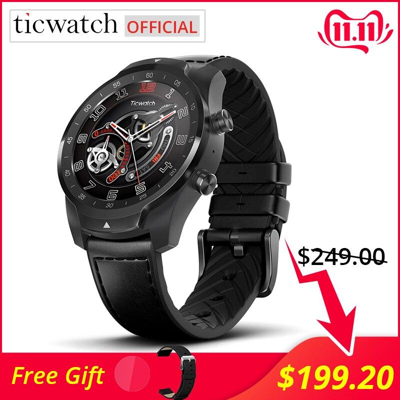Ticwatch Pro montre intelligente Bluetooth IP68 étanche prise en charge des paiements NFC/Google Assistant usure OS par Google GPS montre