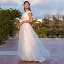 Eightree Simple Cap Sleeveless Wedding Dress Lace Tulle White A-Line Gowns Plus Size Sweetheart Neck Robe de mariee