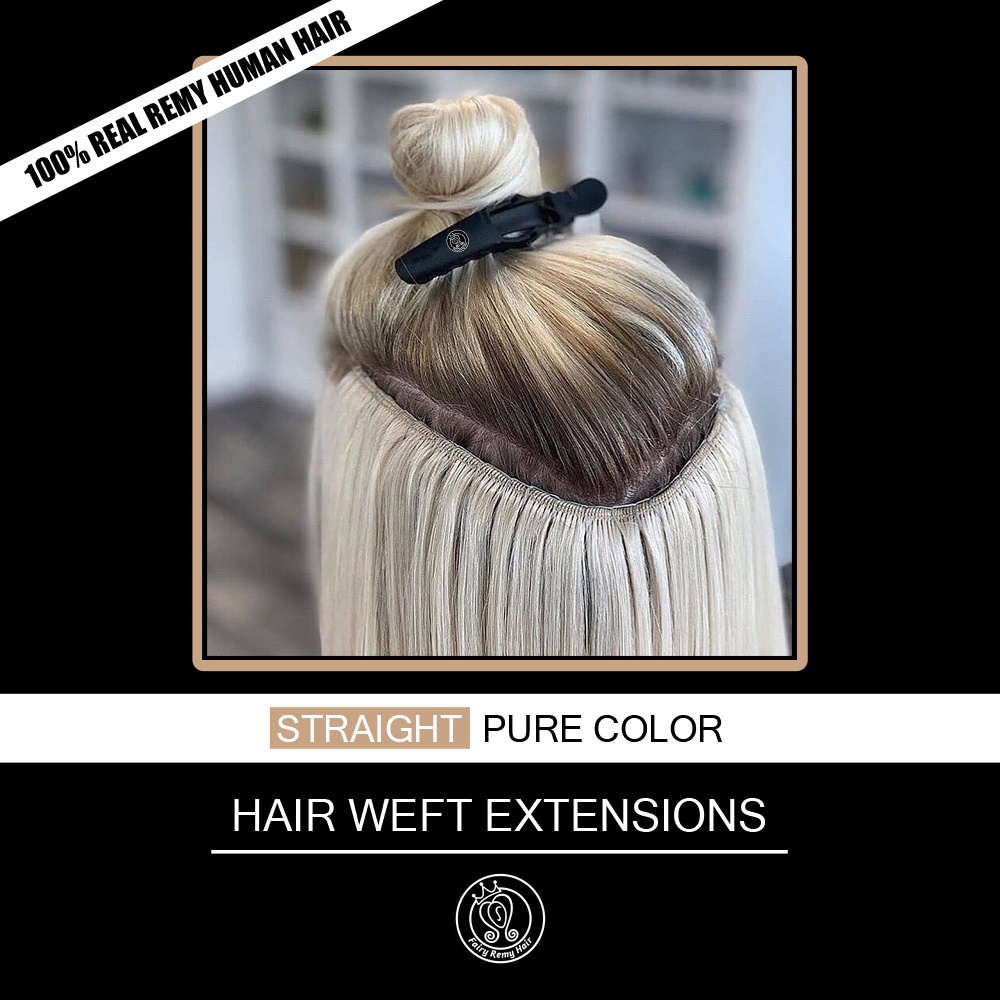 Fairy Remy Hair 100g 120g Real European Straight Human Hair Weave Bundles 16-22 Inch Platinum Blonde Remy Weft Hair Extensions