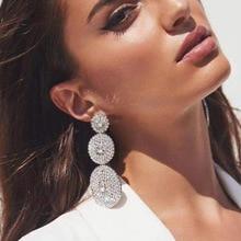 Rhinestone Multilayer Round Shape Earrings For  Women Luxury Crystal Long Exaggerated Bohemian Ear Jewelry