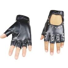 2019 Women Rivets PU Leather Gloves Semi-Finger Mens Rivet Belt PU Gloves Sexy Cutout Fingerless Gloves R007 women rivets leather gloves semi finger mens rivet belt pu gloves sexy cutout fingerless gloves