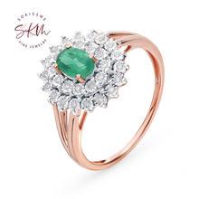 Женское кольцо с изумрудом из розового золота 14 к