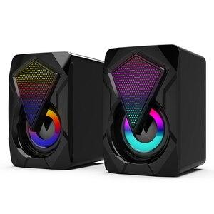 X2 стерео звук объемный звук с цветовой моделью RGB светильник для настольных ПК Компьютерные колонки USB активный сабвуфер