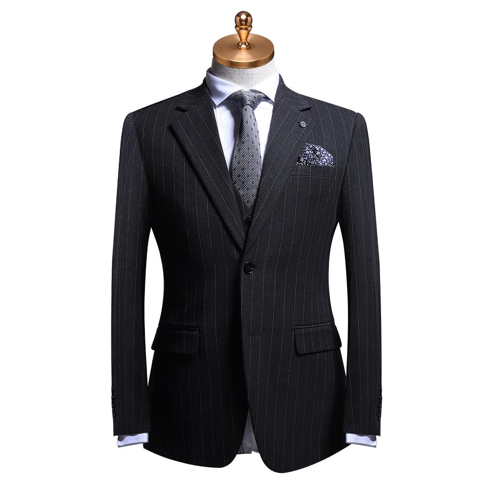 Men Suit 2019 Grey Stripe Formal Business Man Wear Wedding Groom Suits With Pants Vest Blazer Spring Autumn Winter Mens Suits 56