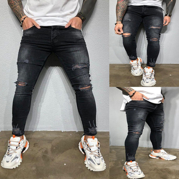 Stretch Ripped Jeans Men 2020 Brand New Black Skinny Holes Denim Trousers Casual Slim Fit Hip Hop Destroyed Pencil Pants S-XXXL 2015 jl s xxxl brand new