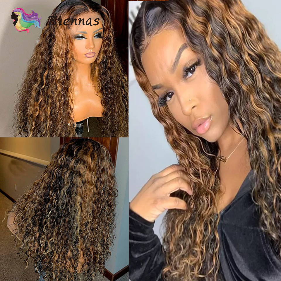 Brazilian 13x6 Lace Front Wig Ombre Highlight Curly Lace Wig For Black Women Bleached Knots Remy Human Hair Lace Wig Pre Plucked
