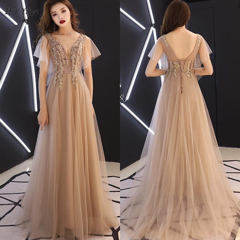 It's Yiiya Evening Dress Elegant Short Sleeve V-Neck Floor-Length Women Party Dresses Appliques Backless Robe De Soiree E1122