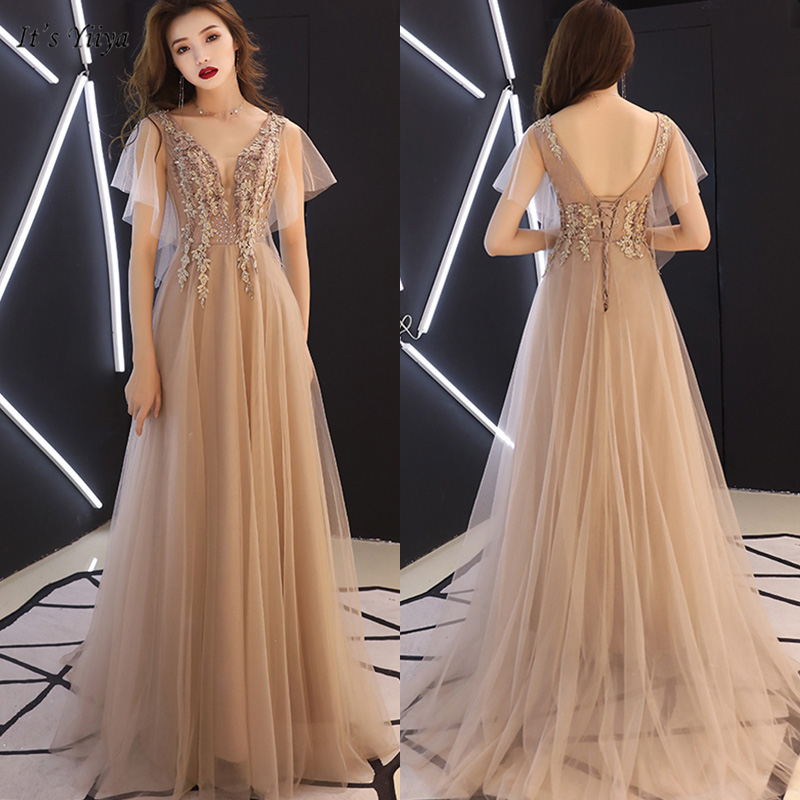 It's Yiiya   Evening     Dress   Elegant Short Sleeve V-Neck Floor-Length Women Party   Dresses   Appliques Backless Robe De Soiree E1122