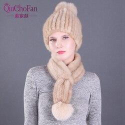Gorros de piel de visón auténtico de Invierno para mujer, bufandas tejidas con bola de zorro Real, gorras de piel natural y cálida, conjuntos de bufandas de 2 piezas
