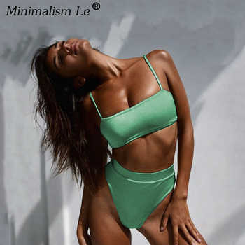 Minimalism Le Solid High Waist Bikinis Sexy Leopard Swimsuit Women Snake Print Bathing Suit 2020 New Swimwear Summer Beachwear
