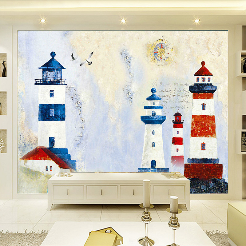 TV Backdrop Wallpaper Living Room Hand-Painted Nonwoven Fabric Special Offer Mural European Style 3D Seamless Mediterranean Ligh