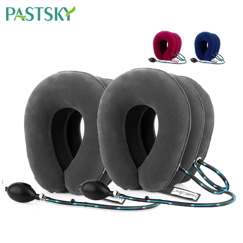 2pcs Inflatable Air Cervical Traction Muscle Spasm Pain Relieves 3 Layers Soft Neck Care Pillow Device Promote Blood Circulation