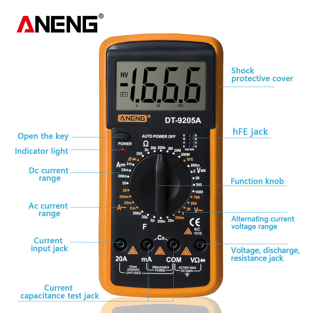 LCD Display Digital Multimeter Alternating/Direct Voltage Current Resistance Capacitance Diode Triode Tester Digital Multimeter
