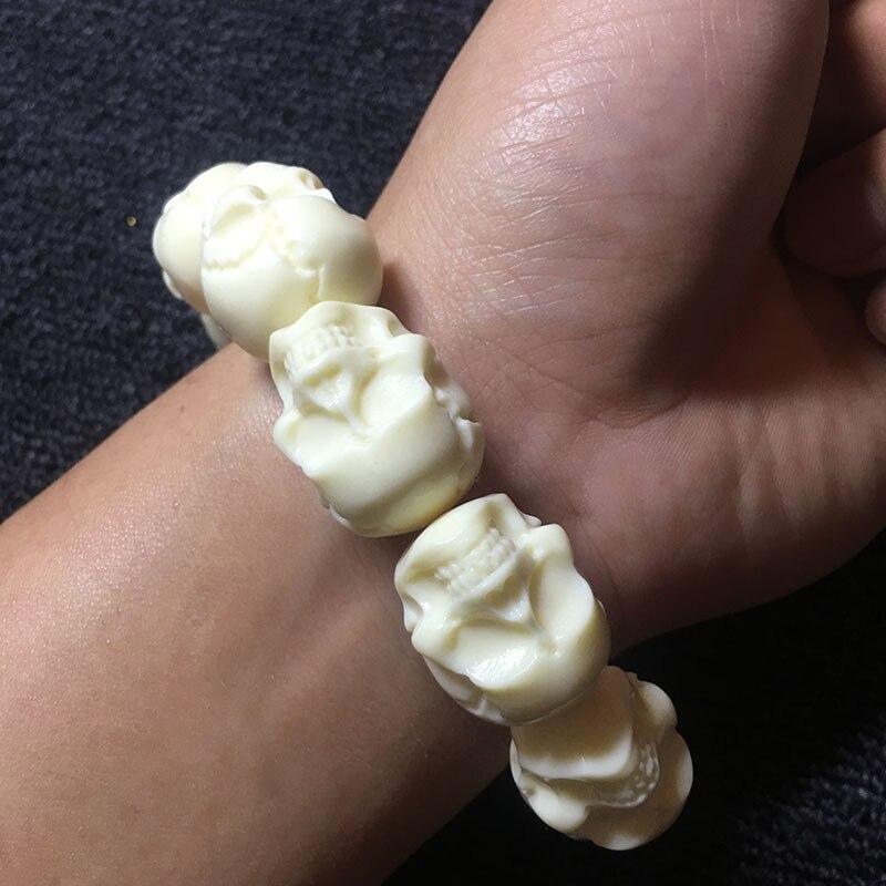Белый резной браслет с черепом, современная скульптура из натуральных материалов, модные фигурки, подарочная упаковка