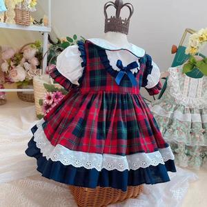 2 предмета, летнее платье принцессы в стиле Лолиты в испанском стиле кружевное бальное платье в клетку для дня рождения, милое турецкое плат...