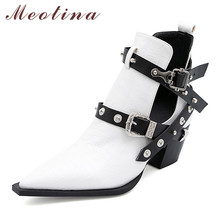 Meotina Short Boots Women Shoes Rivet Buckle High Heel Ankle Boots Pointed Toe Block Heels Metal Decoration Boots Lady Autumn